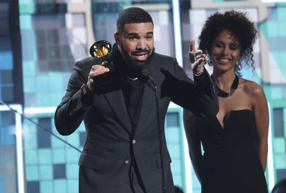 Drake accepts the award for best rap song for 'God's Plan ' at the 61st annual Grammy Awards on Sunday, Feb. 10, 2019, in Los Angeles. (Photo by Matt Sayles/Invision/AP)