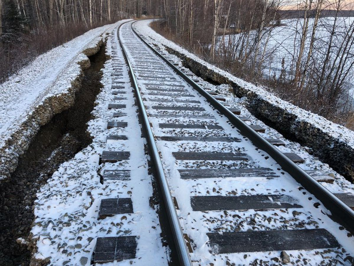 Damage from Friday's 7.0 earthquake in Southcentral Alaska rendered parts of the Alaska Railroad system north of Anchorage impassable, indefinitely shutting down train service between Anchorage and Fairbanks. (Alaska Railroad Corp. handout photo)
