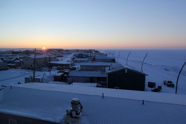 A late, low winter sunrise over Kotzebue, December 2015. (Kirsten Swann / Alaska Dispatch News)