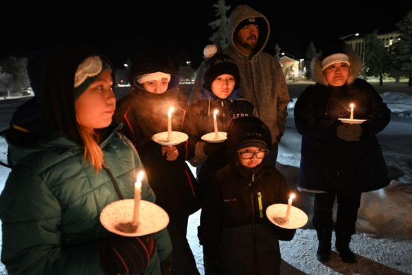 Charlene Apok, left, speaks during a vigil at Delaney Park Strip in Anchorage on Wednesday evening, Jan. 15, 2020, for Kristen Huntington who was murdered in Fairbanks last week. Vigils were simultaneously in Fairbanks and in Selawik to honor Huntington and raise awareness of violence Native women face, a movement largely known as Missing and Murdered Indigenous Women and Girls. (Bill Roth / ADN)