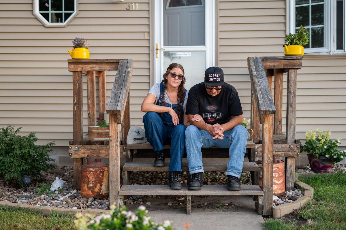 Angie Balcolm and Kenny Cervantes at home in Riverdale, Neb. Cervantes told a health department tracer he got sick after attending the motorcycle rally, but his was not classified as a Sturgis case, suggesting that even in the best circumstances, infections may go uncounted. (Photo by Misty Prochaska For The Washington Post)