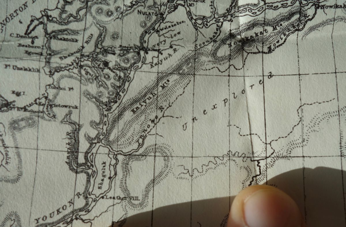 """A detail of William Dall's 1870 Alaska map, from """"Alaska and its Resources."""""""