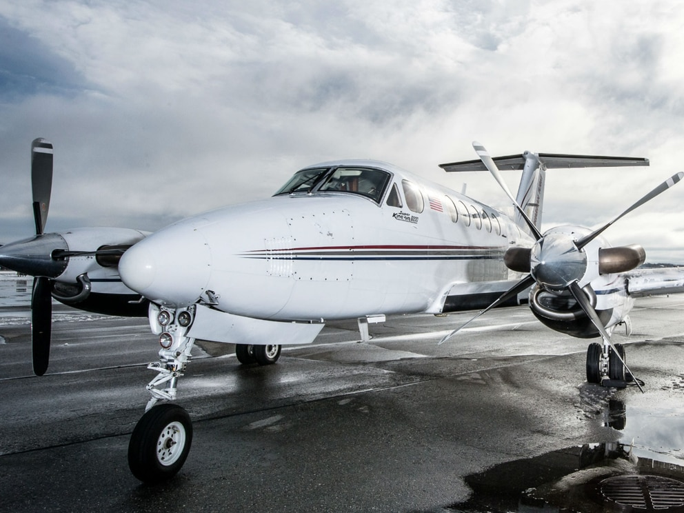 A Guardian Flight Beechcraft King Air B200, similar to the one pictured, crashed Jan. 29, 2019, in water near Kake in Southeast Alaska. (Courtesy Guardian Flight)