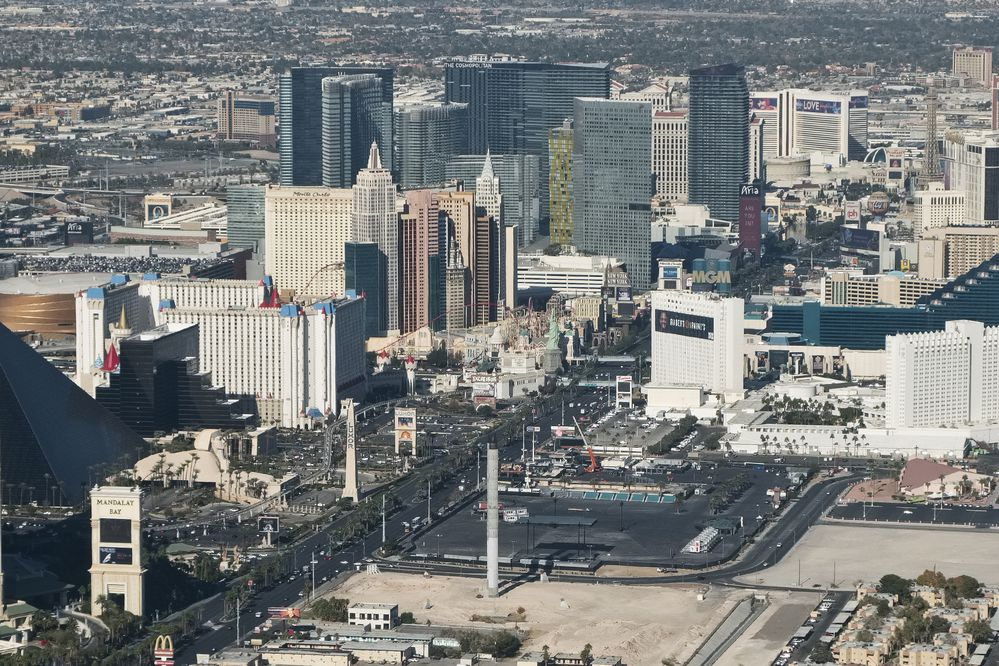 Las Vegas Boulevard, home of the famous Las Vegas Strip, photographed on December 11, 2017. The Route 91 Harvest Festival, where the mass shooting occurred, was held at the dark lot near the center of the photo. (Marc Lester / ADN)
