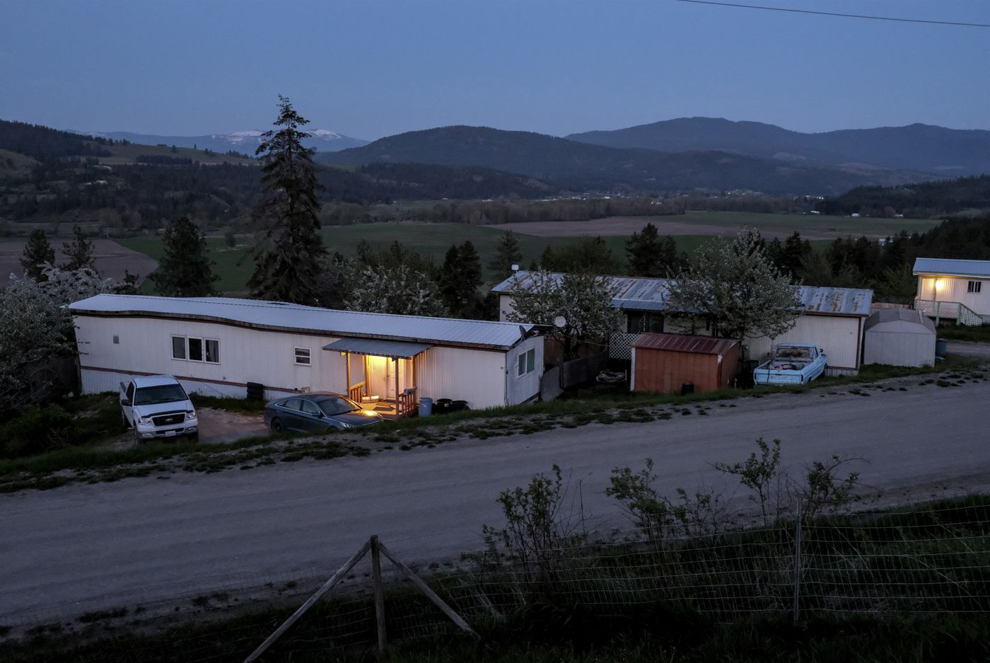 The view from the porch of Kenyon Stewart's home in Colville, Wash. He does not like the manufactured home where he currently lives and hopes to buy a house. MUST CREDIT: Washington Post photo by Bonnie Jo Mount