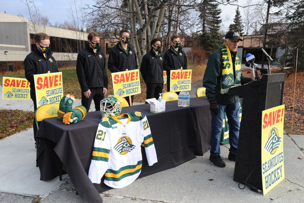 Jerry Dewhurst spoke about saving the UAA Seawolves Hockey program during a press conference outside the UAA Sports Complex on Monday, Oct. 19, 2020. (Bill Roth / ADN)