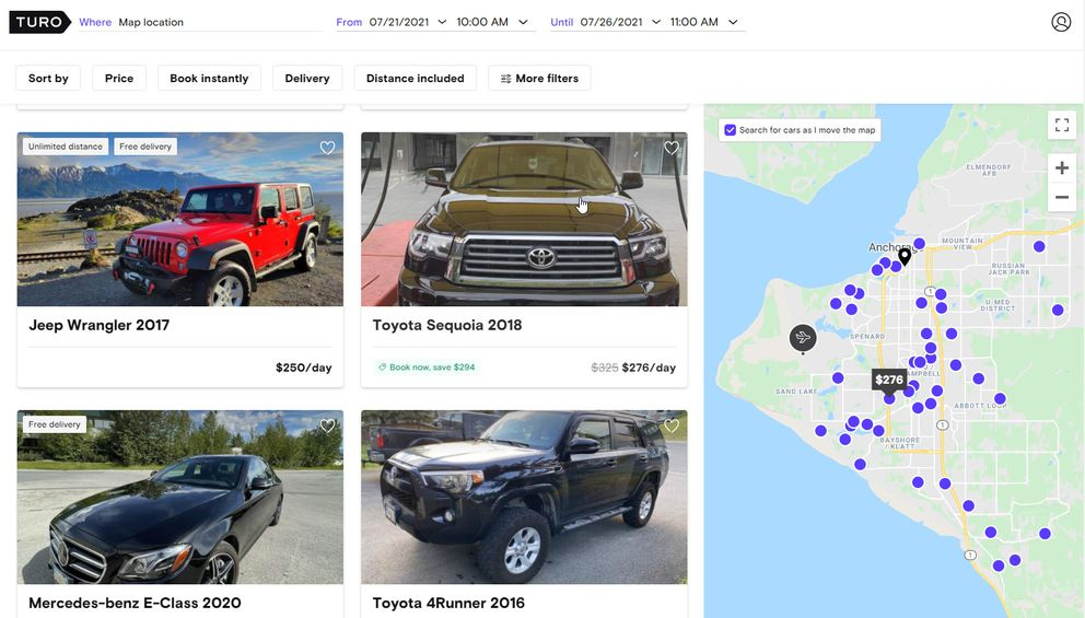 A screenshot of Turo's website shows some of the vehicles available to rent in Anchorage in mid-July.