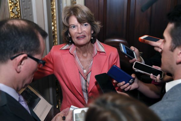Sen. Lisa Murkowski, R-Alaska, talks with reporters after the confirmation vote of Supreme Court nominee Brett Kavanaugh, on Capitol Hill, Saturday, Oct. 6, 2018 in Washington. Kavanaugh was confirmed 50-48. (AP Photo/Alex Brandon)