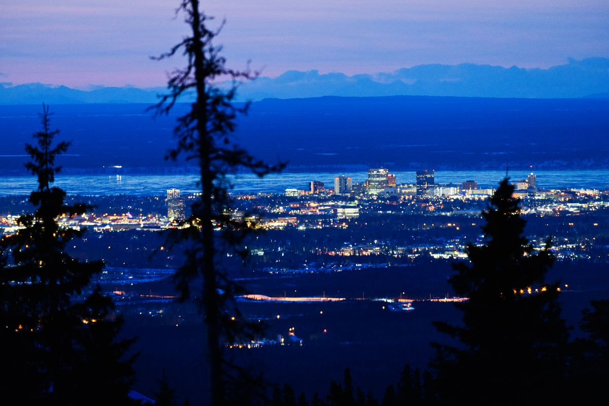 The lights of Anchorage as seen from the Hillside on March 11, 2020. (Marc Lester / ADN)