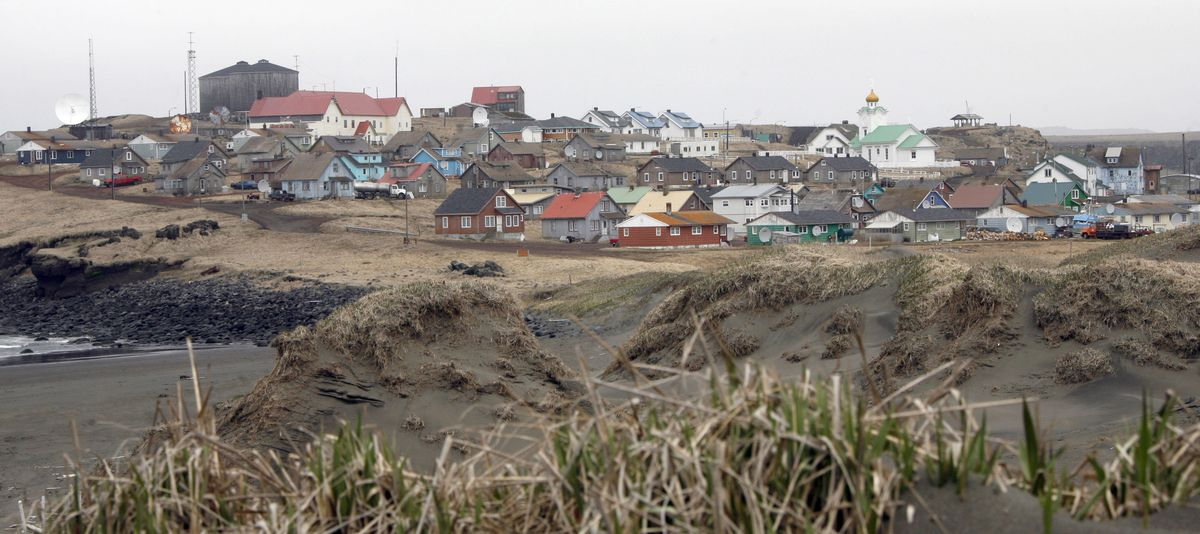 The city of St. Paul is seen on June 5, 2008 on the Bering Sea island of St. Paul Island. (AP Photo/Al Grillo)