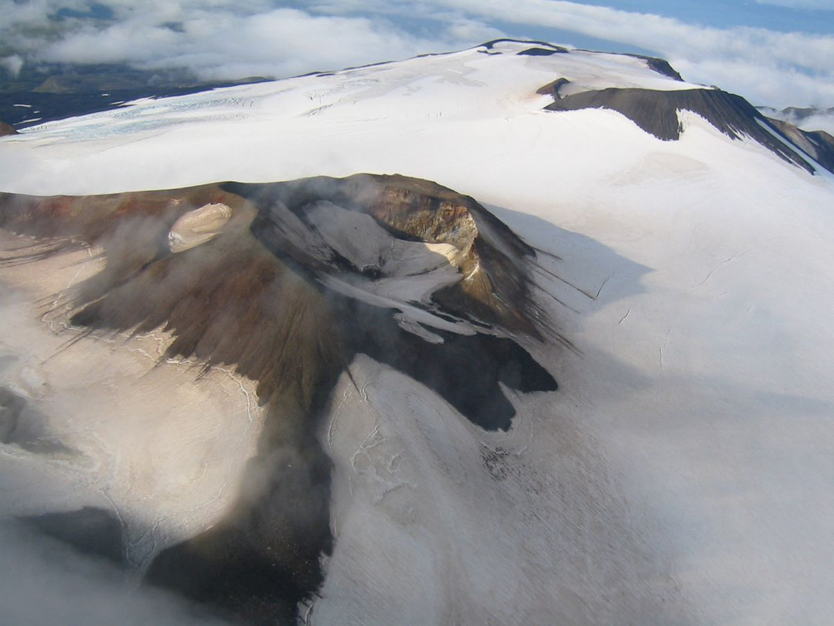 Craters atop Takawangha's summit, looking west. The volcano Takawangha is 4,754 feet high and is located on northern Tanaga Island. (Photo by M. L. Coombs / courtesy of AVO and U.S. Geological Survcey)
