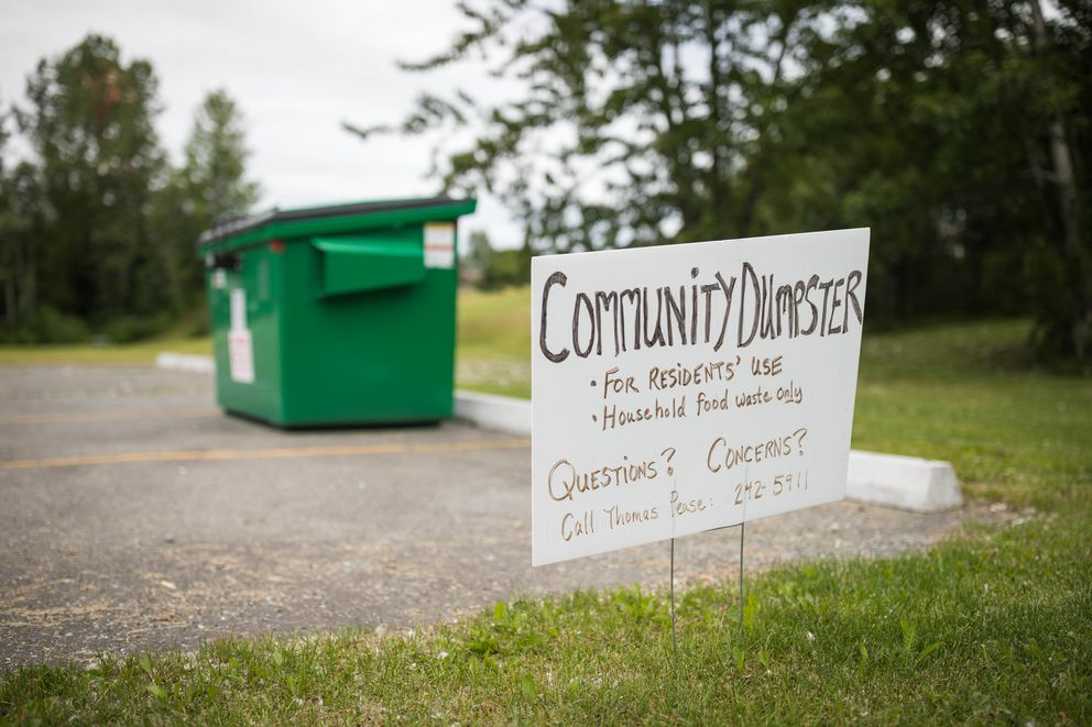 This community dumpster in Government Hill's Harvard Park allows residents to deposit smelly trash, reducing the potential for bears to get into trash cans. (Loren Holmes / Alaska Dispatch News)