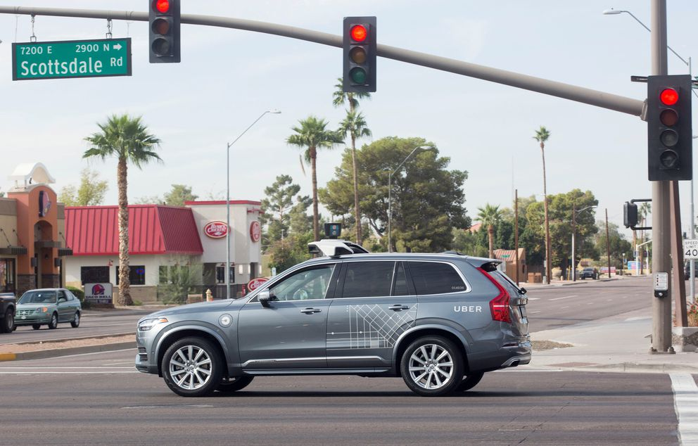 A self-driving Uber Volvo in Scottsdale, Arizona, December 1, 2017. REUTERS/Natalie Behring/File