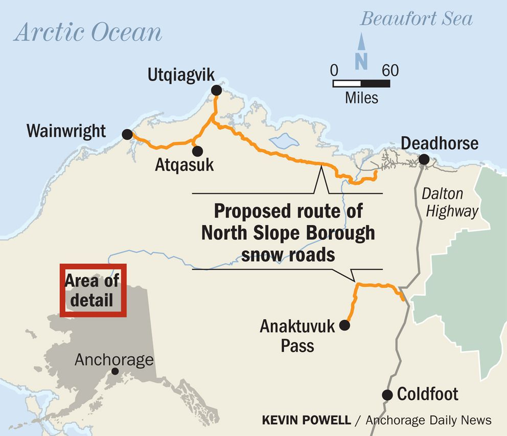 Proposed route of North Slope Borough snow roads