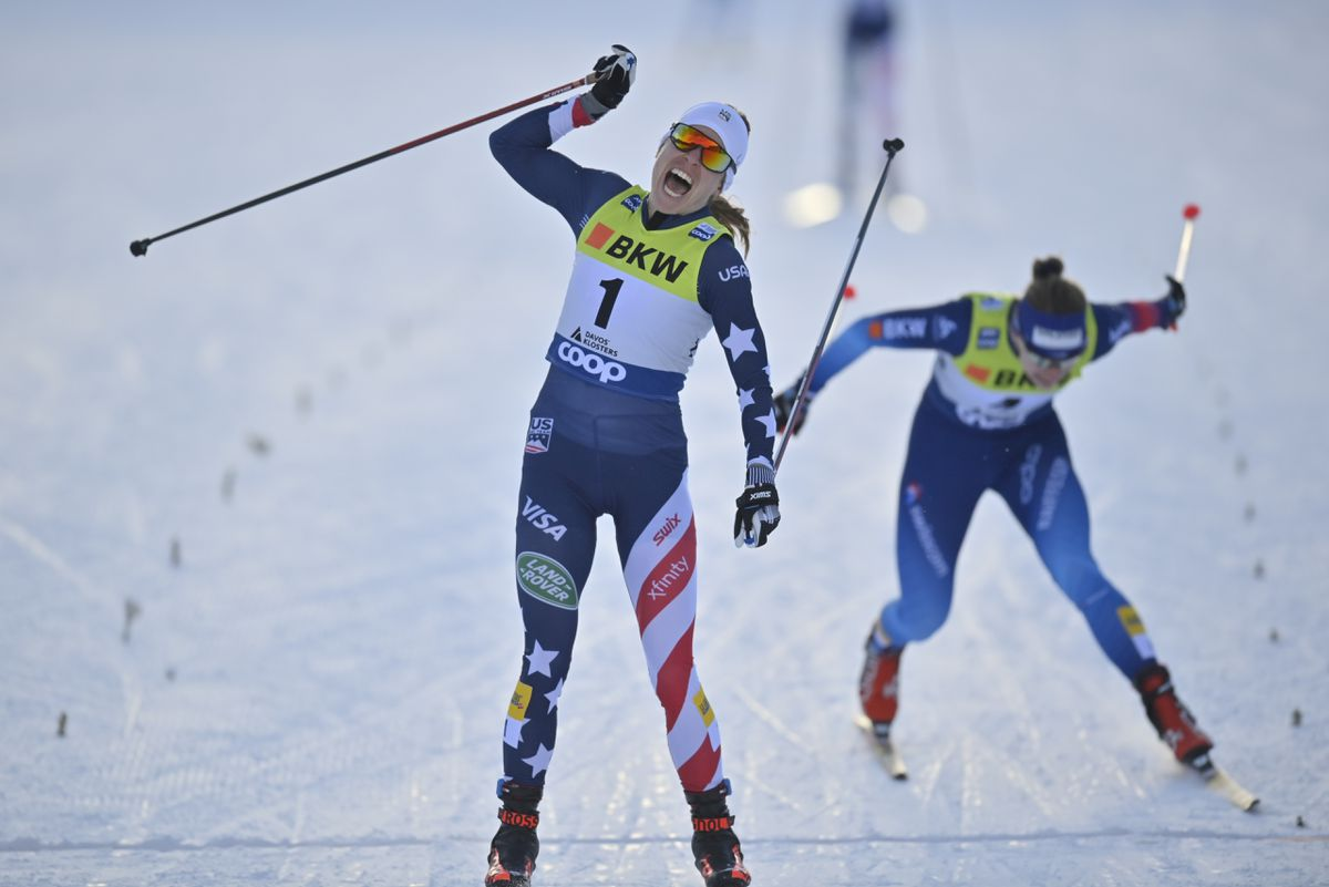 Rosie Brennan of Anchorage reacts at the finish line of Saturday's World Cup freestyle sprint final in Davos, Switzerland. (Gian Ehrenzeller/Keystone via AP)