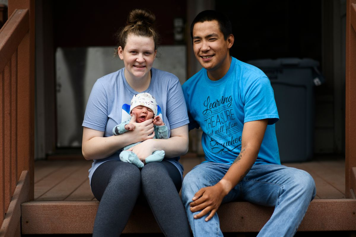 Keegan Cranston-Stuckey, 22, aged out of Covenant House, which provides shelter for homeless youths. She now lives in an apartment with her newborn son, Anikan, and partner, Lorenzo Kanrilak, 22. Photographed on August 3, 2020. (Marc Lester / ADN)