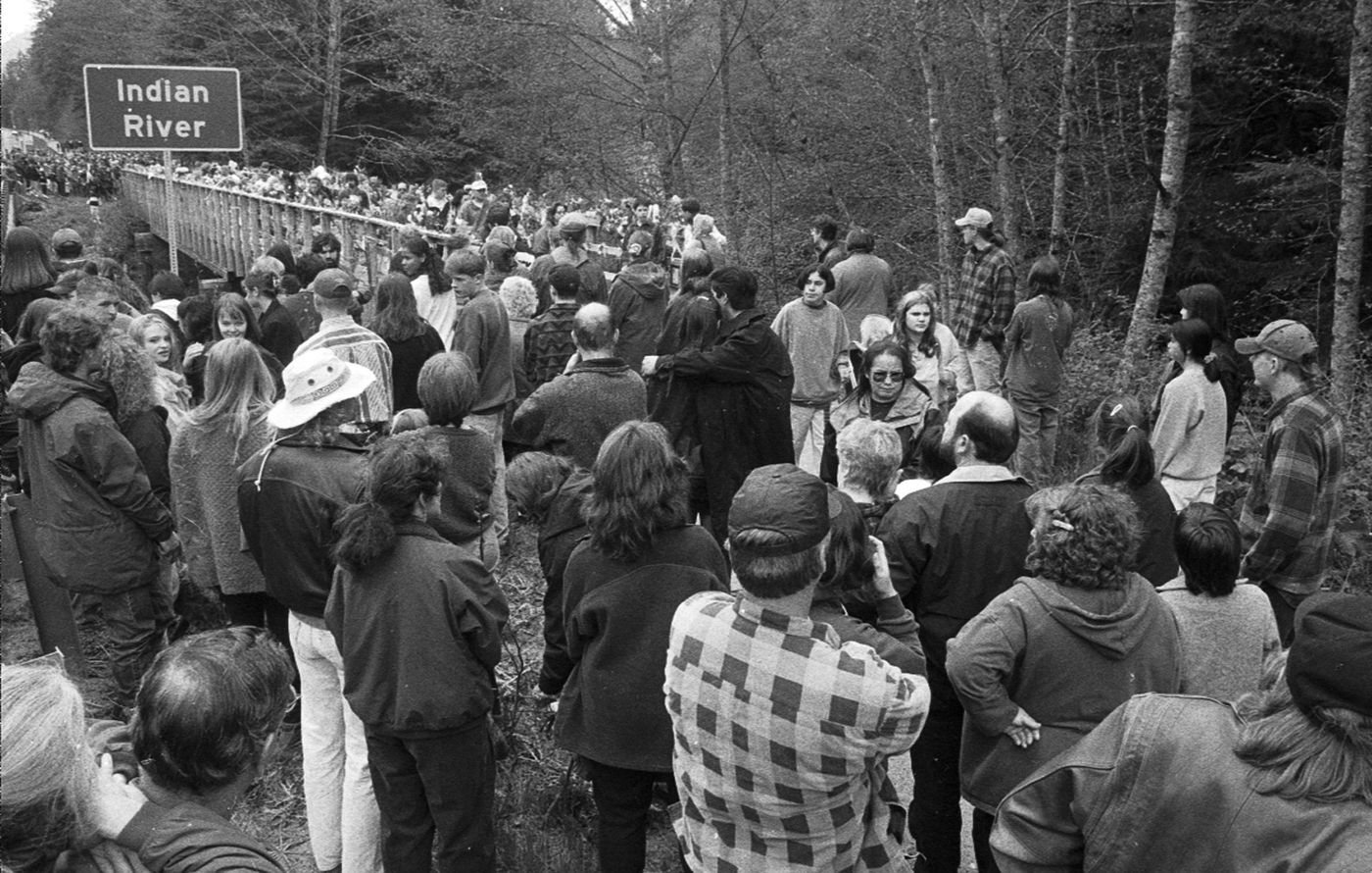 About 1,500 people turned out on May 12, 1996, for a walk through Sitka National Historical Park in memory of Jessica Baggen. (Daily Sitka Sentinal file photo by Reber Stein)