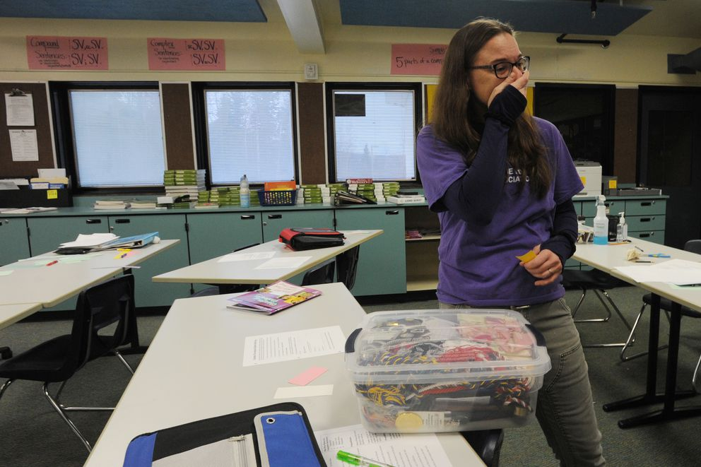 Gruening Middle School language arts teacher Marnie Hartill on Thursday started to cry when talking about her students returning to class. 'I can't wait to see them. I miss them a lot. ' (Bill Roth / ADN)