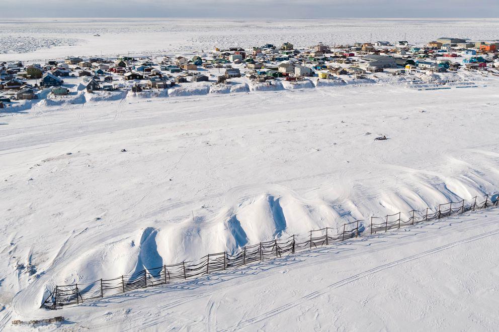 The Bering Sea community of Unalakleet on Sunday, March 11, 2018. (Loren Holmes / ADN)