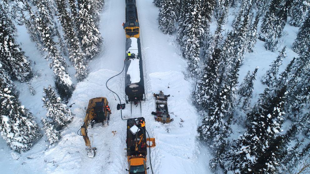 Crews work on the site of a Alaska Railroad single car derailment Thursday, Jan. 17, 2019. The derailment happened on Tuesday, Jan. 15, 2019. (Photo provided by Alaska Railroad)