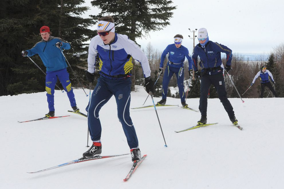 Team Alaska skiers get ready for the Junior National cross country championships. (Bill Roth / ADN)