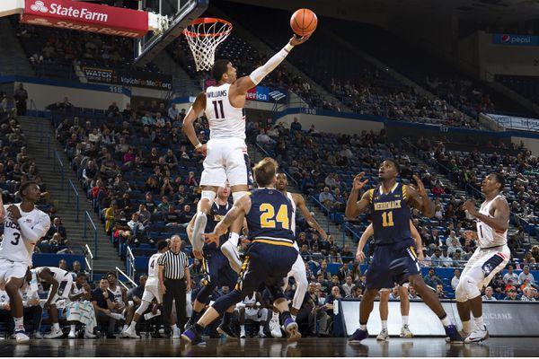 UConn's Kwintin Williams goes up for a basket against Merrimack Oct. 31, 2017. (UConn Athletics)