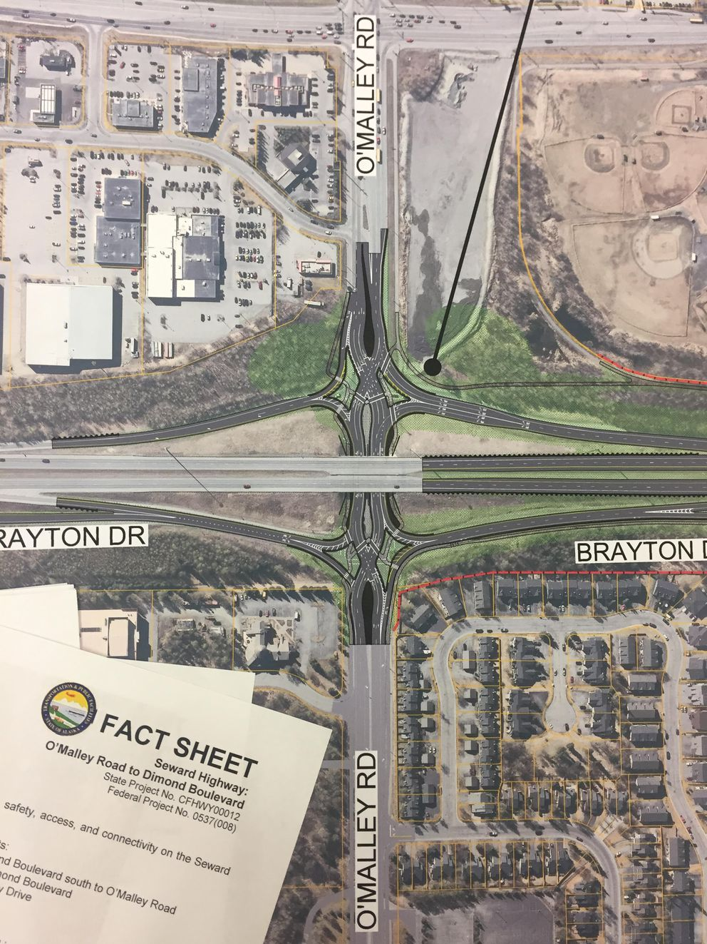 A close-up of the plans for an O'Malley Road 'diverging diamond' interchange on the Seward Highway. (Devin Kelly/ASN)