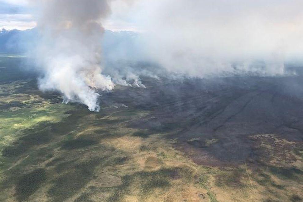 After the Swan Lake fire burns through an area, mosiac patterns are seen from an aerial view, June 12, 2019. These patchworks promote healthy biodiversity for the ecosystem. (Alaska Division of Forestry)