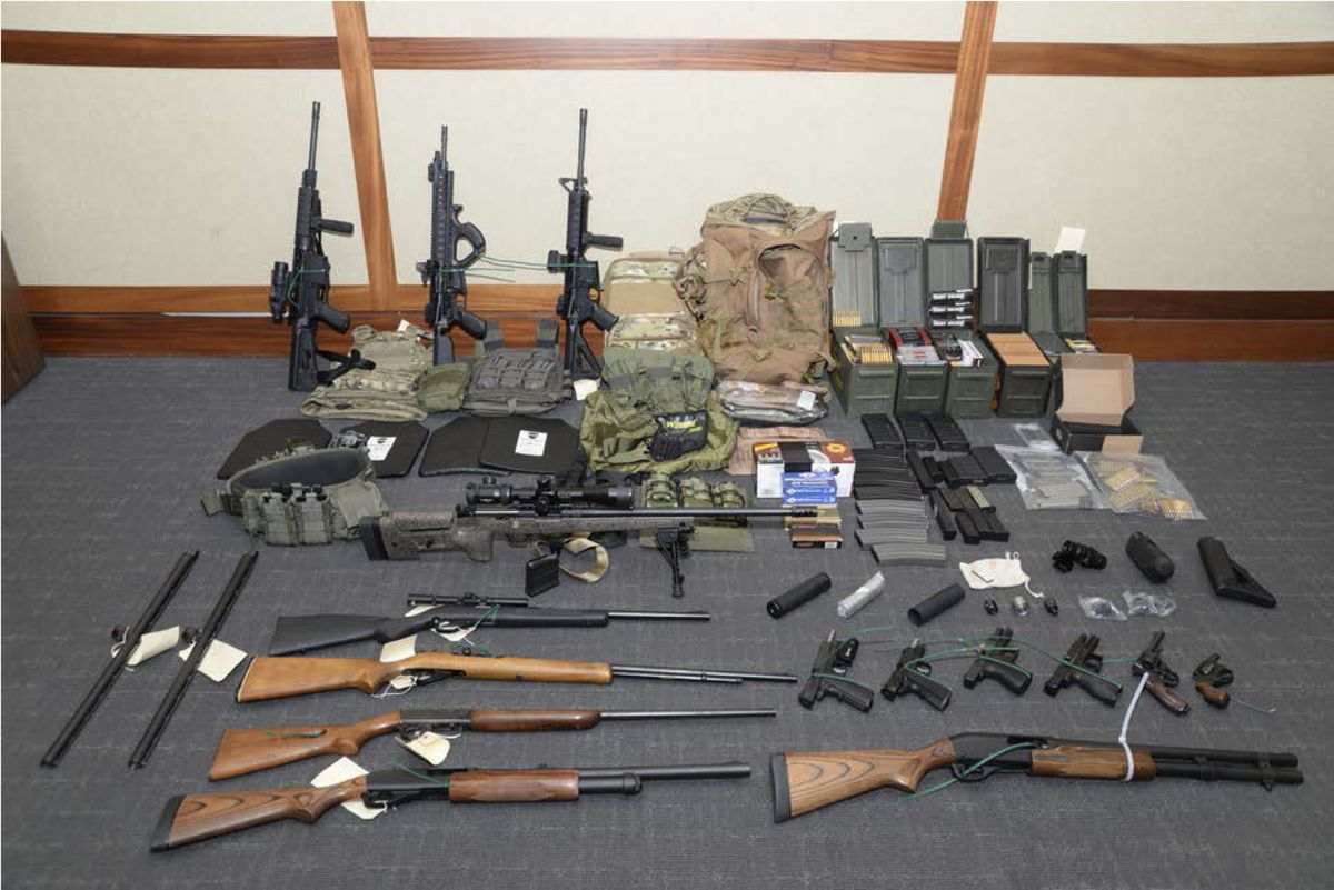 Federal investigators say Christopher Hasson had a cache of guns stockpiled to launch a terrorist attack. (U.S. Attorney's Office in Maryland handout photo)