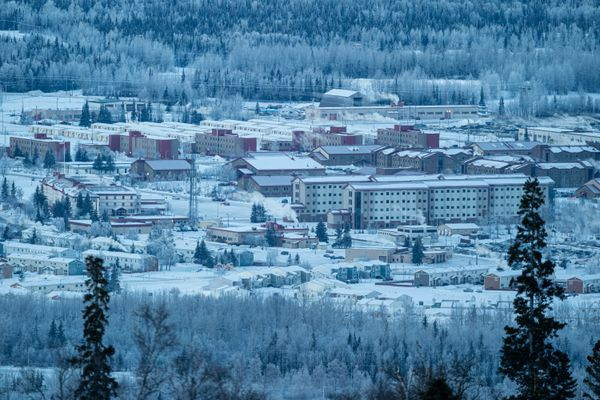 Fort Richardson, part of Joint Base Elmendorf-Richardson, is seen from Arctic Valley Road on Jan. 1, 2021 in Anchorage. (Loren Holmes / ADN)