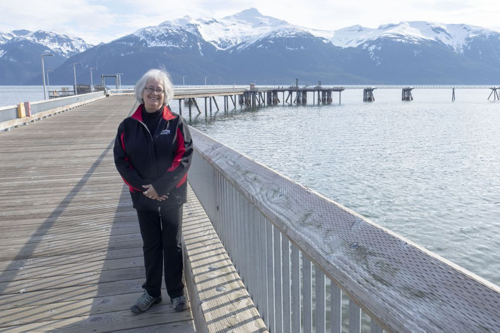 Haines Mayor Jan Hill on the Port Chilkoot dock on May 2, 2020. (Photo by John Hagen)