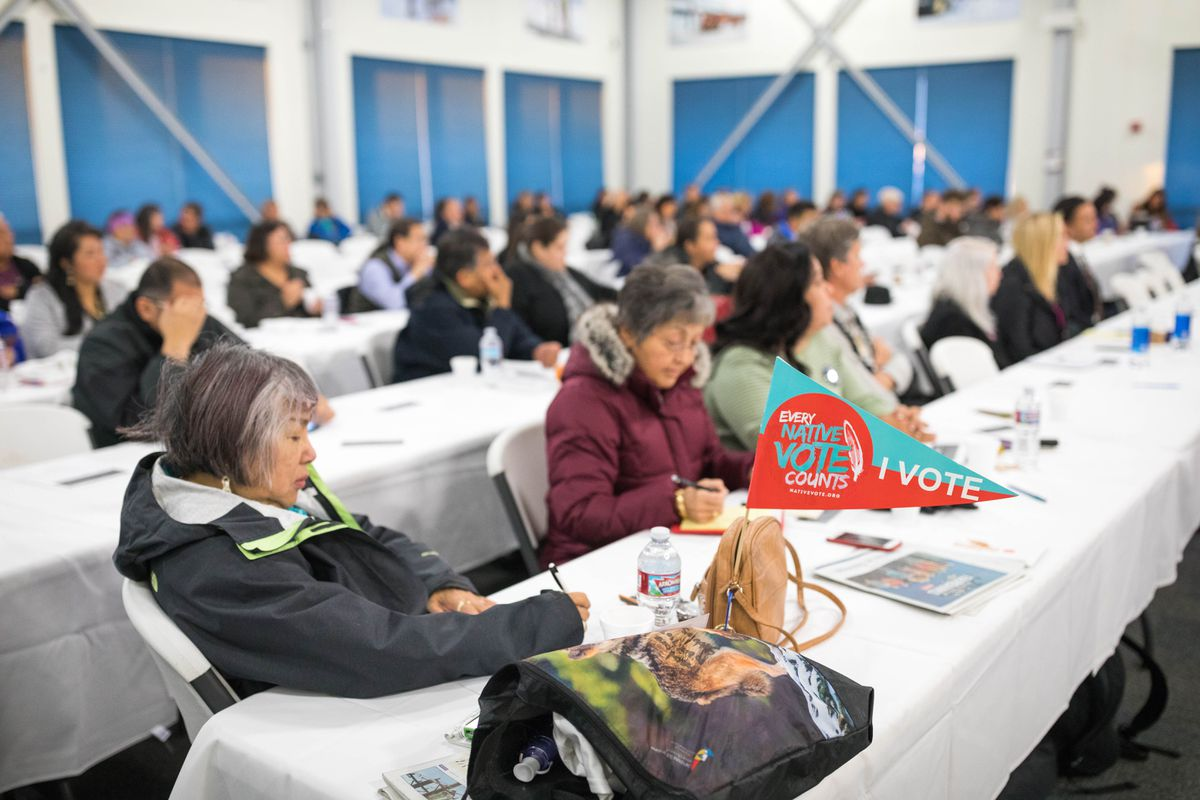 Attendees at an Alaska Federation of Natives/National Congress of American Indians conference at a Doyon facility in Fairbanks on Wednesday, where AFN president Julie Kitka announced that AFN will be endorsing Hillary Clinton for president. AFN has never before endorsed a candidate for President of the United States. (Loren Holmes / Alaska Dispatch News)