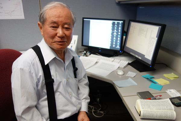 Akasofu at his office in the building on the UAF campus named after him. (Photo by Ned Rozell)