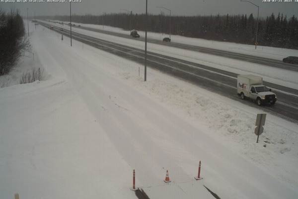 The Glenn Highway near the weigh station on Friday morning. (Borealis Broadband webcam)