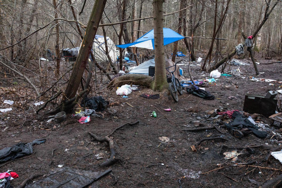 A homeless camp along the Chester Creek greenbelt Friday. (Loren Holmes / ADN)