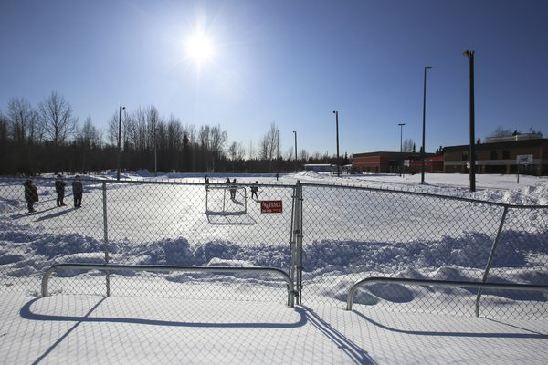 The ice rink outside of Bayshore Elementary School in Anchorage, photographed on March 12, 2021. (Emily Mesner / ADN)