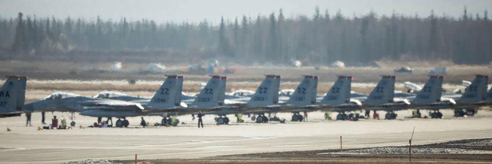 Air Force F-15s, based at Kadena Air Base, Japan, sit on the tarmac at Joint Base Elmendorf-Richardson forNorthern Edge. (Loren Holmes / Alaska Dispatch News)