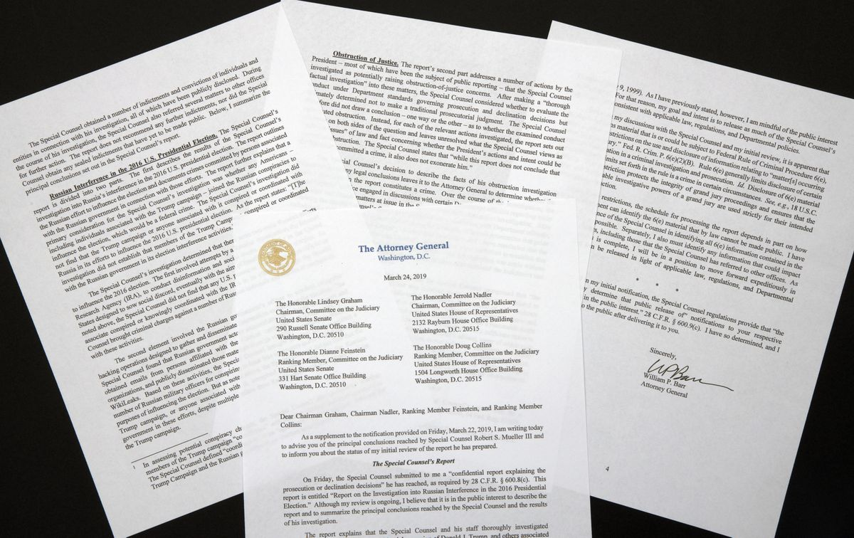 A copy of a letter from Attorney General William Barr advising Congress of the principal conclusions reached by Special Counsel Robert Mueller, is shown Sunday, March 24, 2019 in Washington. (AP Photo/Jon Elswick)