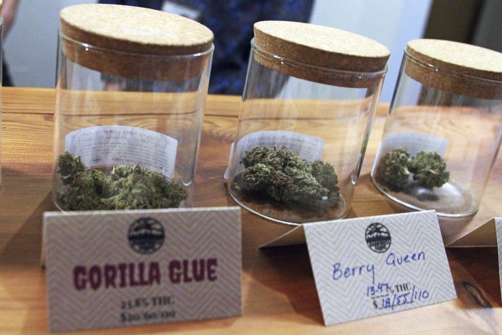 FILE - In this Jan. 18, 2017 photo marijuana is displayed for sale at a shop in Juneau, Alaska. Alaska regulators approved rules for onsite consumption of marijuana at specially designated shops on Thursday, Dec. 20, 2018, a significant step for the cannabis industry after years of debate. (AP Photo/Mark Thiessen, File)