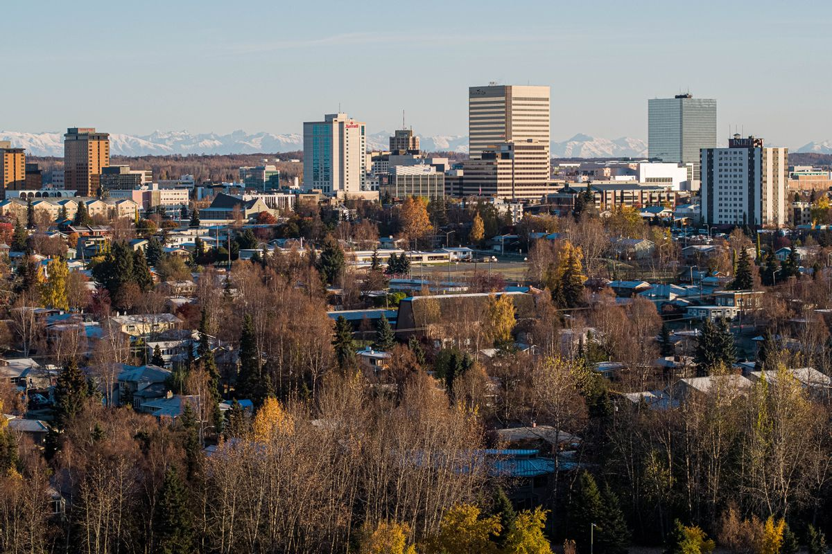 Downtown Anchorage, seen from Westchester Lagoon on Friday, Oct. 16, 2020. (Loren Holmes / ADN)