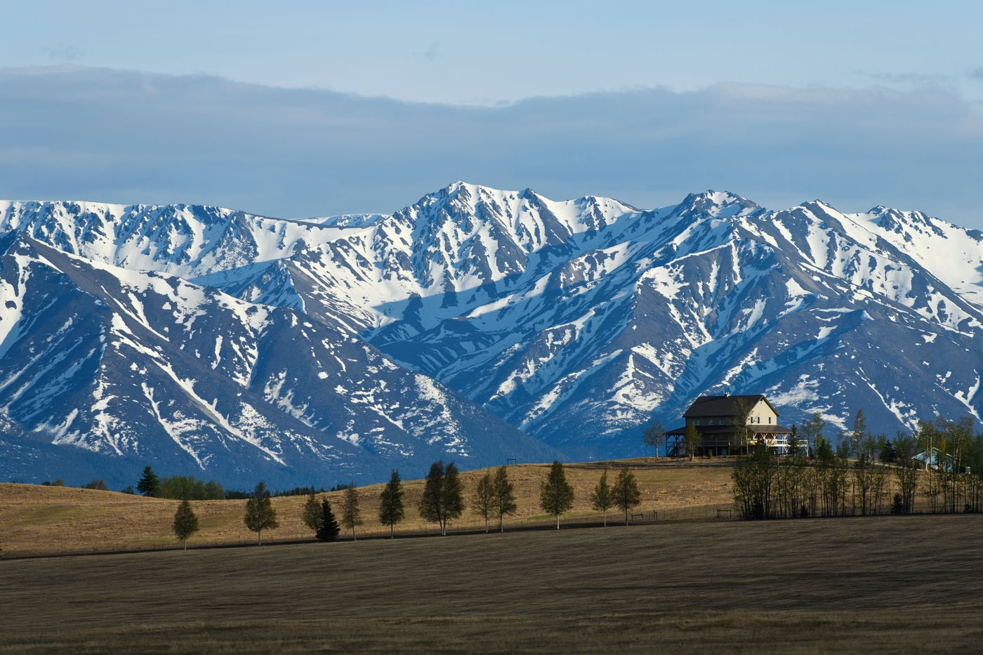 Rolling agricultural land is in the foreground of tall peaks near Delta Junction, Alaska, on May 13, 2020. (Marc Lester / ADN)