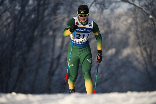 UAA's Casey Wright competes. The final day of the U.S. Cross Country Ski Championships featured men's and women's classic sprint racing on January 8, 2018. (Marc Lester / ADN)