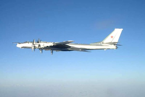 One of two Russian Tu-95 Bear long rang bomber aircraft which neared the U.S. Navy aircraft carrier USS Nimitz on Feb. 9, 2008 south of Japan. As standard procedure the carrier launched a fighter intercept of F/A-18 Hornet strike fighters assigned to Carrier Air Wing 11 as escort. Nimitz was transiting through the Western Pacific on a regularly scheduled deployment when the incident occurred. (U.S. Navy)