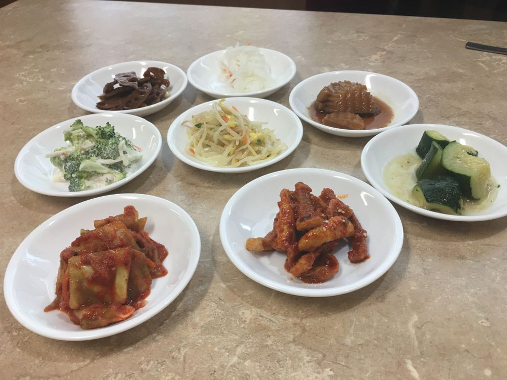 Banchan at Wonjo Tofu House in Anchorage (Photo by Mara Severin)