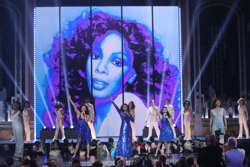 The cast of ÒSummer: The Donna Summer MusicalÓ performs at the 72nd Annual Tony Awards at Radio City Music Hall in New York, June 10, 2018. (Sara Krulwich/The New York Times)