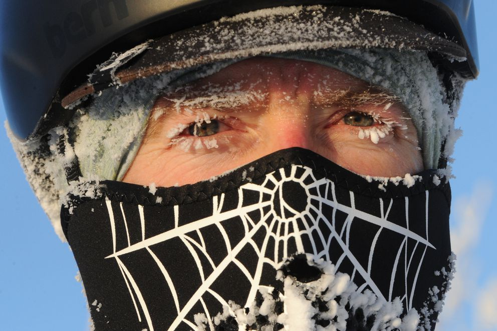 Mike Monterusso is covered with frost on Sunday, Jan. 5, 2020, while riding his fat bike in preparation for the Frosty Bottom race next Saturday. (Bill Roth / ADN)