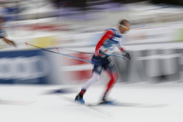 Norway's Sjur Roethe, right, competes during the WSC Men's Interval 15km Free Cross Country event at the FIS Nordic World Ski Championships in Oberstdorf, Germany, Wednesday, March 3, 2021. (AP Photo/Matthias Schrader)