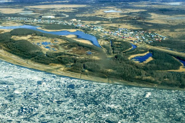 The Kuskokwim River is mainly melting in place this year. The ice that remains is largely caught in bends or around islands, as shown here at the village of Akiachak on Tuesday, May 5, 2015.