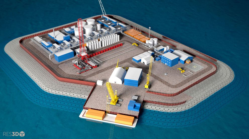 This undated illustration provided by Hilcorp Alaska Inc. shows a model of an artificial gravel island of the Liberty Project, a proposal to drill in Arctic waters from the artificial island. (Hilcorp Alaska via AP, File)