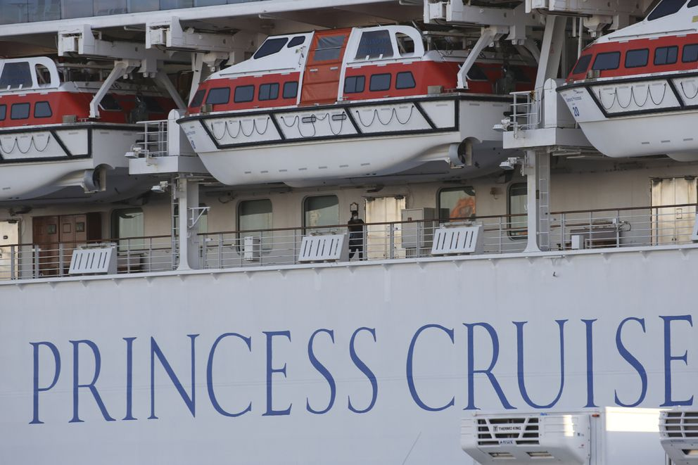 The quarantined cruise ship Diamond Princess is anchored at the Yokohama Port in Yokohama, Tuesday, Feb. 18, 2020. (AP Photo/Koji Sasahara)